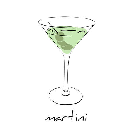 Dry martini cocktail with olives in glass. Wine icon isolated. Hand drawn colorful vector illustration.