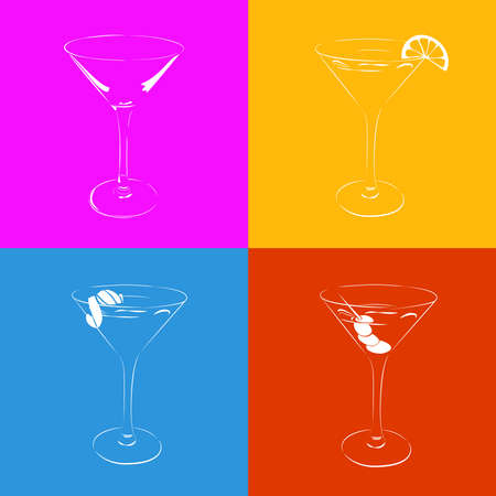 Set of the stylized martini glass in four variants. Cocktail decorated olives, orange, lime. Vector colorful illustration for logo. Ilustracja