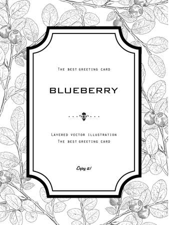 Vintage Greeting Card with Blueberry with Leafs. Natural Organic Black and White Vector Illustration. Hand drawn botanical style.