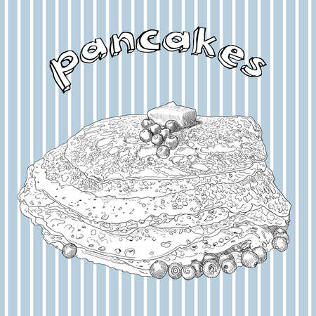 Hand drawn pancakes with butter and blueberry on blue background with white stripes. Vintage vector illustration for menu, card, poster etc. Stock Photo
