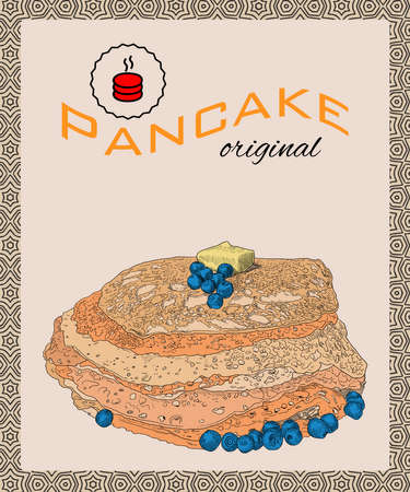 Retro hand drawn poster with pancakes, blueberry and butter.  Colorful vintage vector illustration for menu, card,  flyer etc. Ilustracja