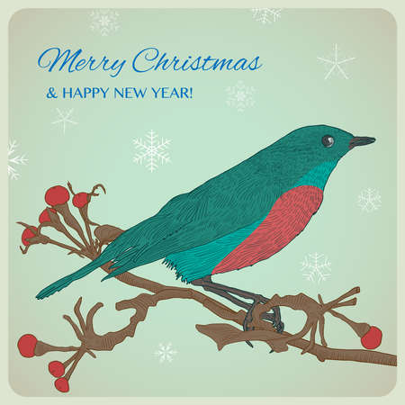 Hand drawn Christmas greeting card with bird sitting on twigs. Happy new year card. Snowflakes background. Vintage vector illustration.