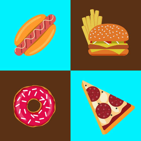 Flat vector fast food icons. Template elements for web and mobile applications.