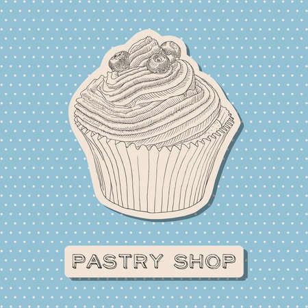 pasticceria: Hand drawn vector cupcake with berry. Pastry shop element. Greeting card.