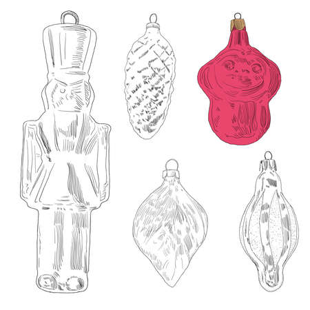 Hand drawn christmas tree toy: monkey, leaf, soldier, cone. Vector illustration isolated with outline and fill on white background.