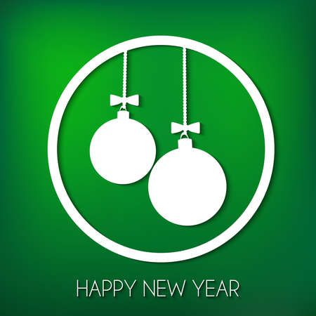 Happy new year card. Two suspended balls inside a big ball on green background.
