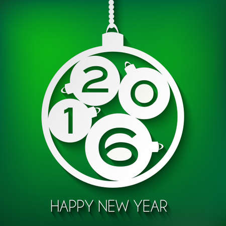 Happy New Year 2016 greeting card. Green Paper Vector illustration with mild shadow. Four little numbered balls inside a big ball. Ilustracja