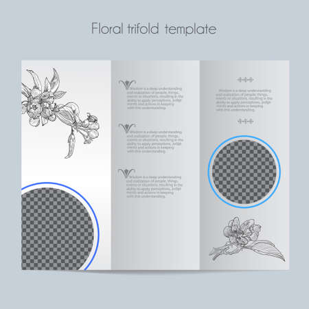 Floral apple template & tri-fold & mock up for brochure, menu, wedding, birthday card. Vector hand drawn illustration of apple in vintage technique. Illustration