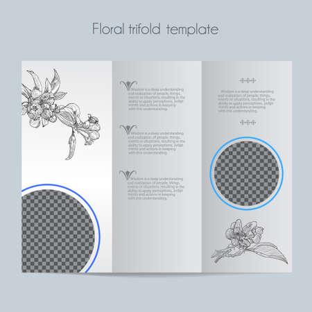 Floral apple template & tri-fold & mock up for brochure, menu, wedding, birthday card. Vector hand drawn illustration of apple in vintage technique. Illustration