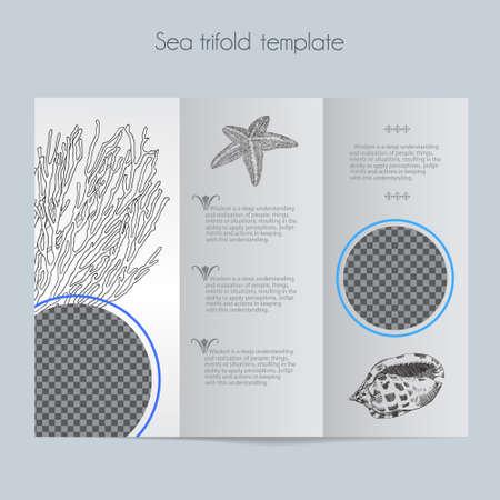 Sea template for brochure, menu, wedding, birthday card. Ilustracja