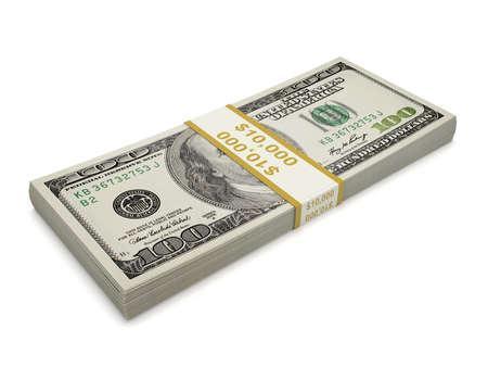 Een verpakking van honderd dollar bill