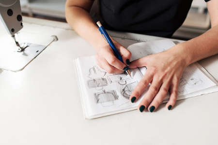 creates: Seamstress creates a sketch in the working notebook. designer draws the clothes and bags.