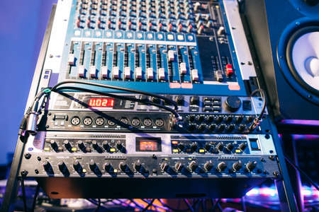 Sound mixer for dj, sound producer or radio broadcast. Equipment for audio effects.