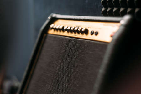 guitar amplifier: Electric guitar amplifier closep. Selective focus technique on black professional guitar amplifier Stock Photo