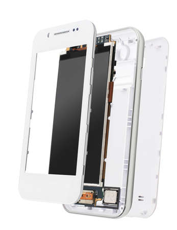broken strategy: disassembled smartphone isolated on white background. Detached parts of desassembled smartphone
