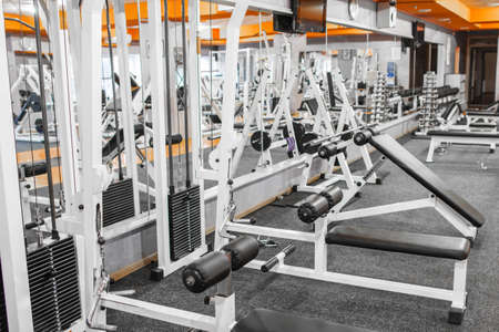 recreation room: Variety of training devices at gym. Mirror wall at gym with plenty of different training devices. Power-producing training equipment at gym.
