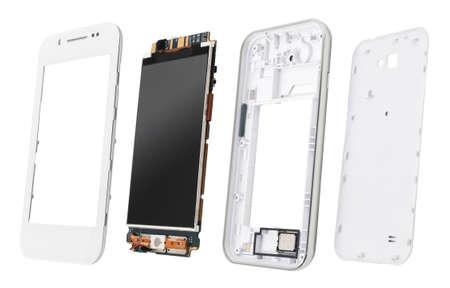 Delen van gedemonteerde smartphone geïsoleerd op wit. Details van gedemonteerde smartphone open weergave