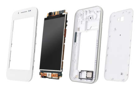 Parts of disassembled smartphone isolated on white. Details of disassembled smartphone open view