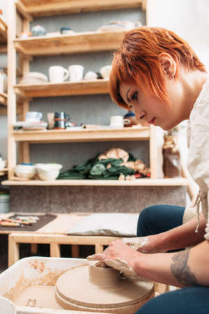 craftswoman: Pottery Craft Hobby Art Ceramics Lifestyle Occupation Concept