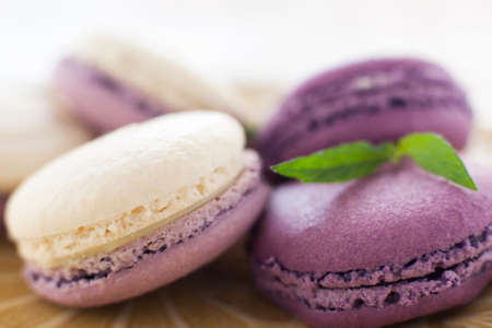confectionary: Macaroon French Cookie Purple Confectionary Sweet-stuff Ratafia Sweets Concept Stock Photo
