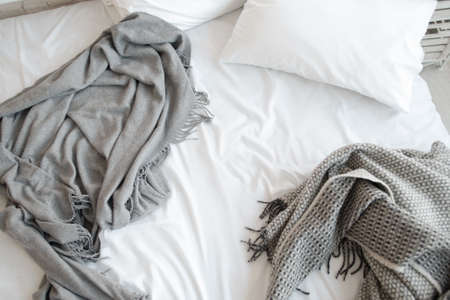Bed Unmade Messy Bedroom Pillows White Copyspace Relax Morning Concept Stock Photo