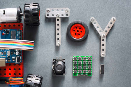 machine made: Educational construction, diy toys for adults and kids. Electronic machine made on microcontroller base for studying and fun. Joyful training tool Stock Photo