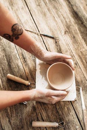 Pottery Workshop Studio Creativity Hobby Talent Handicraft Handmade Advertisement Lifestyle Creativity Concept Stock Photo