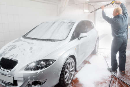cleaness: Automobile Wash Cleaness Hose Carwash Service Business Care Garage Concept