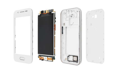 broken strategy: Disassembled smartphone isolated on white background.