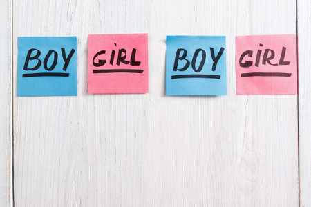 it's: Colorful stickers with boy and girl text, copy space. Composition of pink and blue papers on white wooden background. Its a girl and boy twins concept