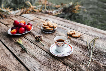 lonelyness: Coffee break at village, rest from urbanization. Old rustic wooden table with cup of coffee, cookies and plums. Breakfast in nature.