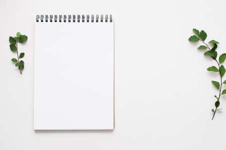 Lege schetsboek op witte achtergrond, vrije ruimte. Hoogste mening over lege rustieke stijlblocnote met groene bladeren op lijst, exemplaarruimte voor tekst of reclame Stockfoto