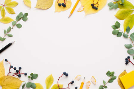 free space: Bright autumn frame on white background, free space for text or advertisement. Yellow and green leaves with blueberry, pen and pencil. Fall inspiration concept