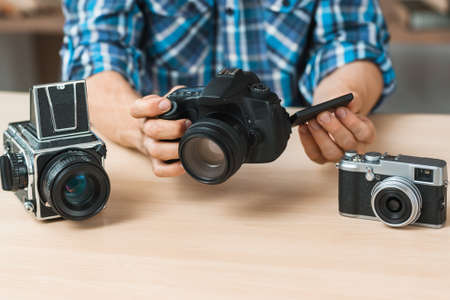 Photographing Equipment Camera Comparison Presentation Hobby Occupation Business Concept Stock Photo
