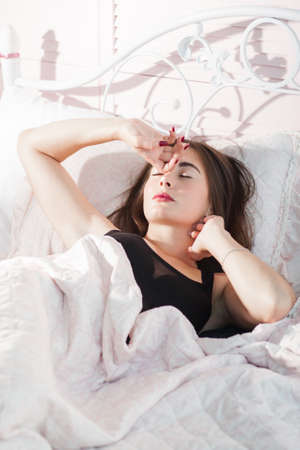 tiredness: Awakening Dreaming Napping Morning Bed Rest Relax Overworking Tiredness Exhaustion Concept Stock Photo