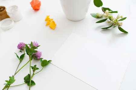 artisan: Blank card with fresh flowers and gouache mockup. Empty sheet of paper on artisan workplace with beautiful blossom. Art, inspiration of nature, art, hobby, herbarium decoration concept
