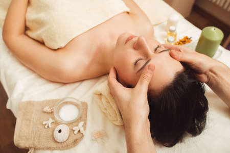 Massage Spa Body Relax Rest Treatment Pleasure Beauty Health Care Vacation Resort Concept Фото со стока - 71043486