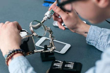 Smartphone Repair Shop Electronic Technology Business Communication Fix Concept