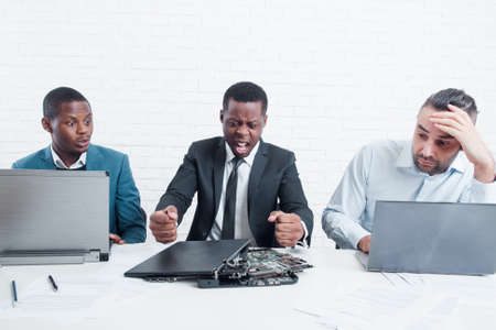 Business goes down. Upset manager is furious about project failing. Problem, stress at work, aggression at office concept