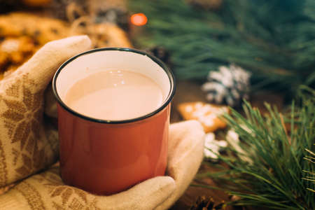 Warm Christmas holiday with latte and cookies. Close up unrecognizable woman holding cup of drink in knitted gloves hands on festive background. Cozy xmas evening on festival and fairs concept Banco de Imagens