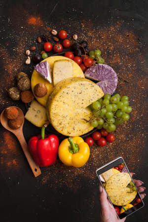 Food photography of rustic dairy. Cheese top view. Social networks and culinary blog concept Stock Photo