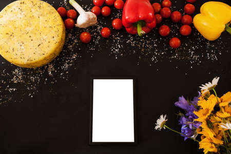 Food composition of gourmet products, top view free space. Quality sort of Caciotta with herbs and vegetables. Menu and recipe concept Reklamní fotografie - 88329772