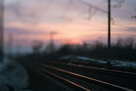 Blur railway road evening concept. Abstract background. Waiting for the train.