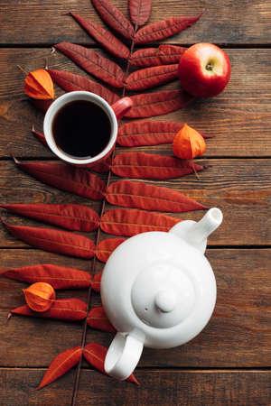 autumn tea warmth leaf ripe harvest wooden surface background concept. Seasonal coziness. Disease prevention