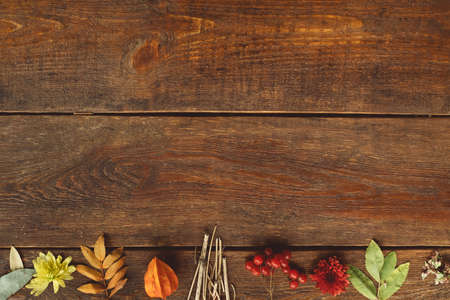 fall autumn leaves on rustic wooden background Stock Photo
