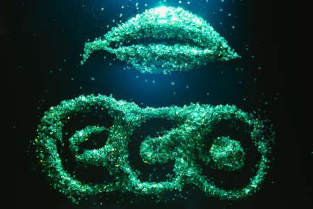 Green glitter background. Eco organic environmentally friendly lifestyle. Nature protection. UFO landing