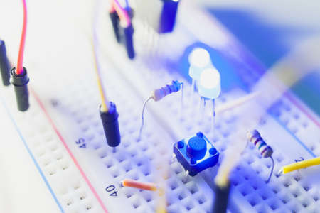 details of breadboard for modern robotics. Microcontroller components.