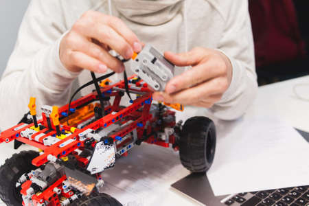 Ukraine, Kharkiv, 05.03.2017. Lego technic - a set of constructor, which is very complicated and common. These models move due to mechanical components, motor and moving axes Editorial