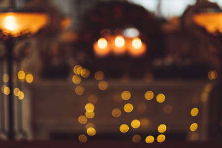blur home christmas eve background concept. coziness and lights. bokeh effect.