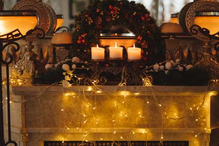 Festive New Year home decoration. Christmas advent concept Foto de archivo